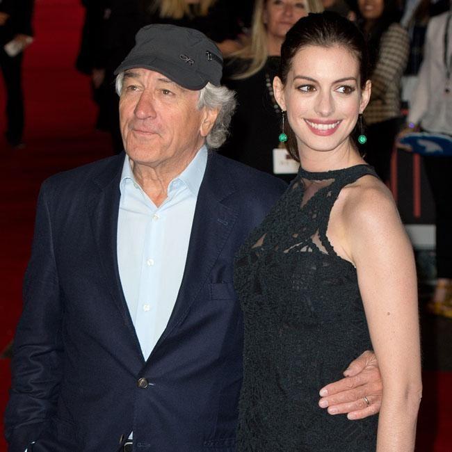 Anne Hathaway Robert De Niro Movie: Robert De Niro Holds Anne Hathaway At 'The Intern' Premier