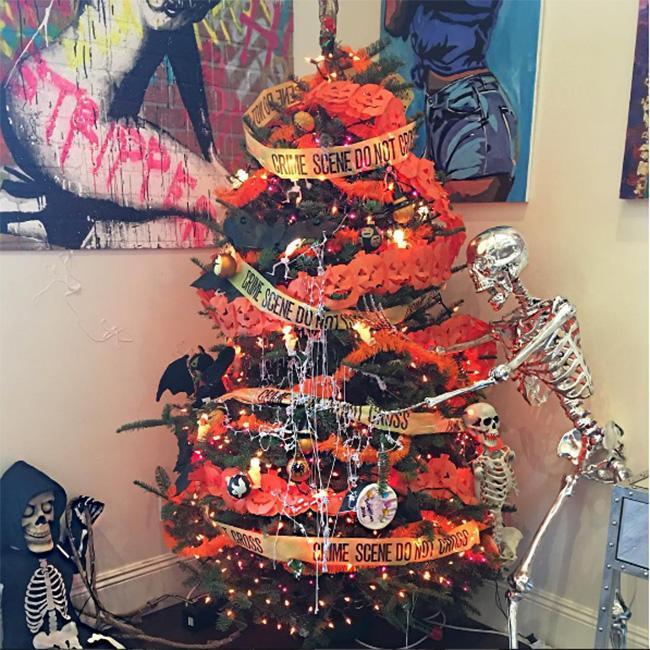 Amber Rose Decorates Halloween Themed Xmas Tree