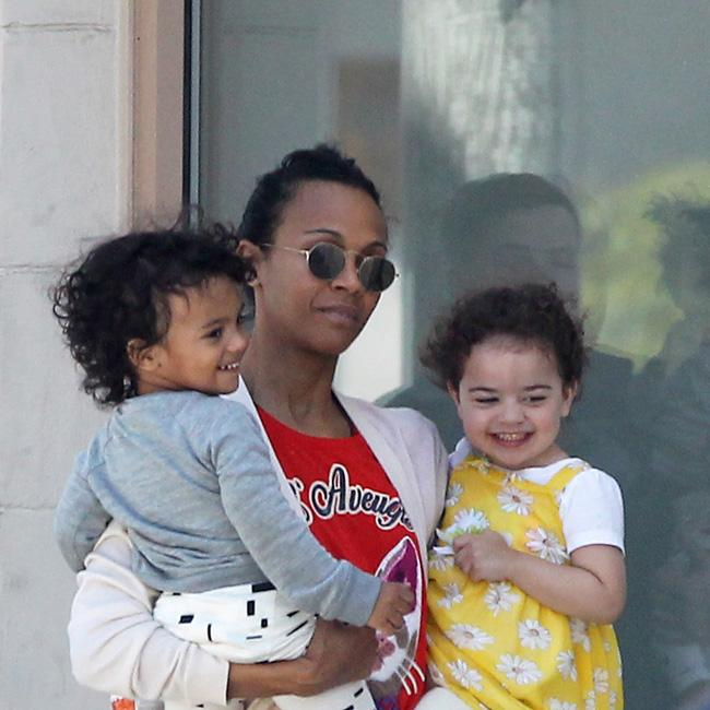 Zoe Saldana looks flawless on day out with kids