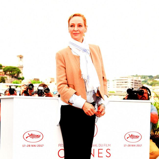 Uma Thurman's casual Cannes look