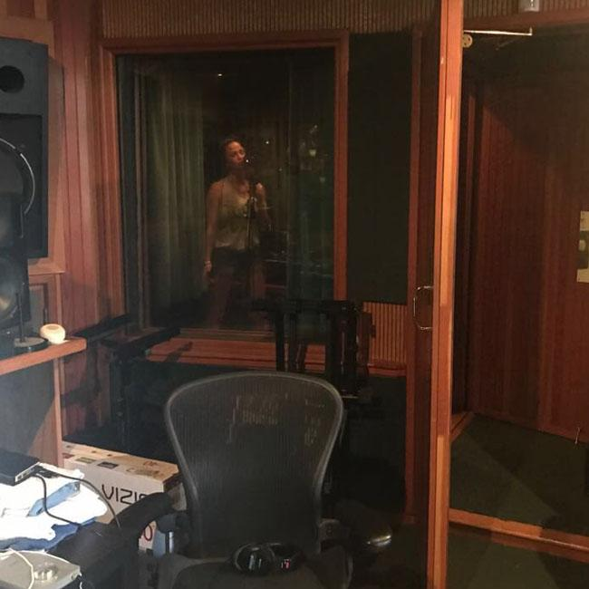 Sarah Harding is back in the studio