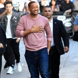 Will Smith looks dapper in pink