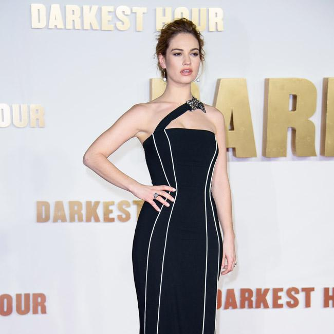 Lily James wows in navy gown