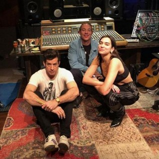Dua Lipa hits studio with Mark Ronson and Diplo