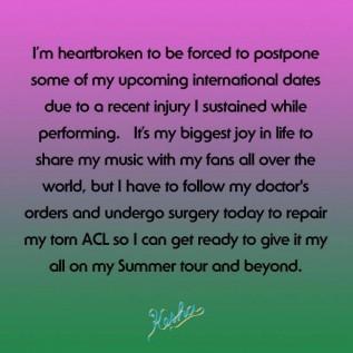 Kesha having surgery on torn ligament