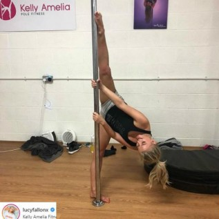 Lucy Fallon 'loves' first pole dancing lesson