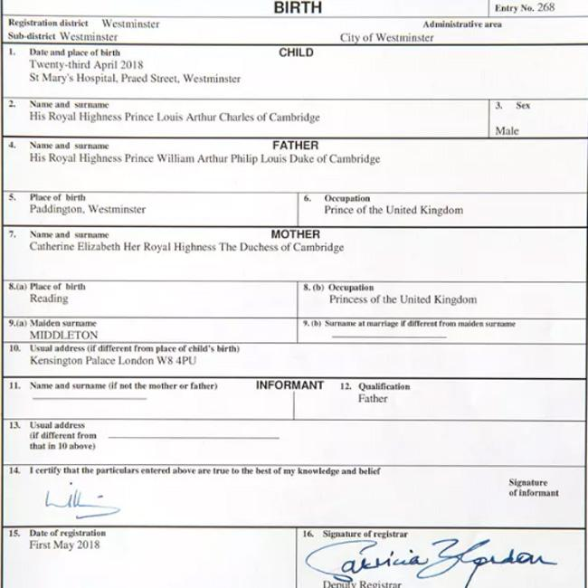 Prince Louis Arthur Charles\' birth certificate revealed