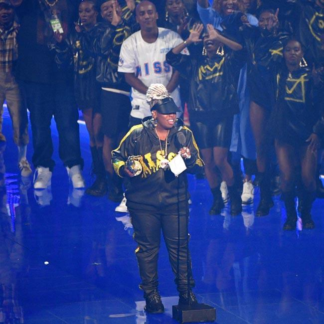 Missy Elliott tries not to cry as she collects MTV Video Vanguard Award
