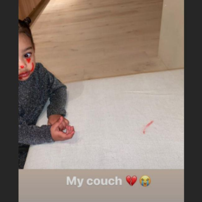 Kim Kardashian West's children ruin her sofa
